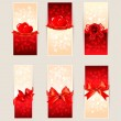 Set of beautiful gift cards with red gift bows and hearts. Valen — Imagens vectoriais em stock