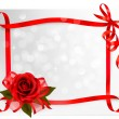 Valentine`s day background. Red rose with gift red bow. Vector i — Stock Vector