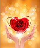 Conceito de amor. segurando um coração vermelho nas mãos. ilustração vetorial. — Vetor de Stock