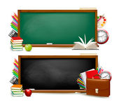 Back to school. Two banners with school supplies. Vector. — Stok Vektör