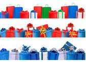 Ange shopping banners med färgglada presentförpackning med båge och ri — Stockvektor