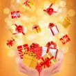 Stock Vector: Holiday background with hands holding gift boxes. Concept of giv