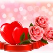 Valentine`s day background. Three red roses with two hearts and — Stock Vector
