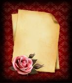 Retro background with beautiful pink rose and old paper. Vector — Stock Vector
