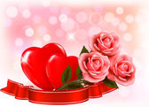 Valentine`s day background. Three red roses with two hearts and — Διανυσματικό Αρχείο