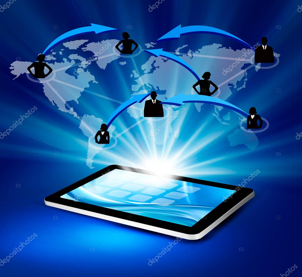 Technology Management Image: Modern Communication Technology Illustration With Tablet
