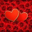 Royalty-Free Stock Vectorafbeeldingen: Valentine Heart Card Design. Red roses and ripped paper heart. V