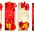 Set of beautiful cards with red gift bows with ribbons Vector — Stock vektor