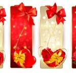 uppsättning av vackra kort med röda gåva bågar med band vektor — Stockvektor