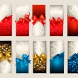 Collection of beautiful gift cards with color gift bows with rib — Stock vektor
