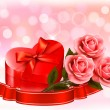 Valentine`s day background. Three red roses with red heart-shape — Stockvector