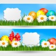 Easter banners with Easter eggs and colorful flowers. Vector ill — Stock Vector #20153865