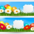 Easter banners with Easter eggs and colorful flowers. Vector ill — Stock Vector #20153935