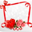 Holiday background with red heart-shaped gift box and flowers. V — Imagen vectorial