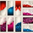 Set of beautiful Gift cards and banners with color gift ribbons - Stock Vector