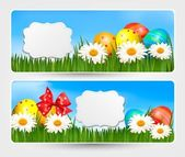 Easter banners with Easter eggs and colorful flowers. Vector ill — Stock Vector