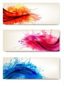 Collection of colorful abstract watercolor banners. Vector illus — Stok Vektör
