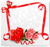 休日の背景に赤のハート形のギフト ボックス、花。v — ストックベクタ