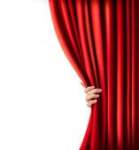 Fondo con la cortina de terciopelo rojo y la mano. ilustración vectorial — Vector de stock