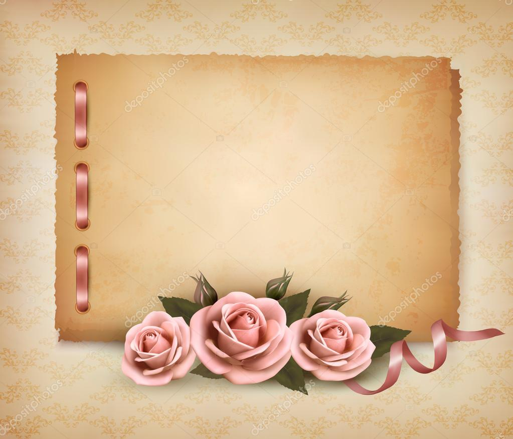 Retro background with beautiful pink rose and old paper. Vector ...