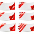Red sale banners with red ribbons. Vector.  — Stock Vector