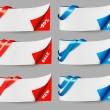 Red and blue sale banners with ribbons. Vector. — Stock Vector