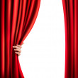 Background with red velvet curtain and hand. Vector illustration — Stock Vector