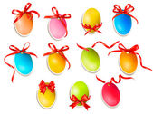 Decorative easter eggs.Easter cards with red bow and ribbons. Ve — Stock Vector