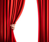 Background with red velvet curtain and hand. Vector illustration — Vector de stock