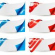 Red and blue sale banners with ribbons. Vector. — Stock Vector #21847071