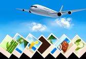 Background with airplane and with photos from holidays. Travel c — Stock Vector