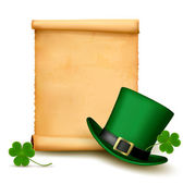 Background with St. Patrick's Day hat with clover. Vector illust — Stock Vector