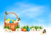 Fond de Pâques avec des oeufs de Pâques dans le panier et papillon sur fl — Vecteur