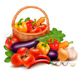 Background with fresh vegetables in basket. Healthy Food. Vector — Stock Vector