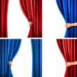 Set of backgrounds with red and blue velvet curtain and hand. Ve — Stock Vector