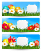 Easter banners with Easter eggs and colorful flowers — Stock Vector