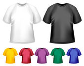 Black and white and color men polo t-shirts. Design template. Ve — Stock Vector