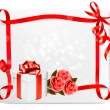Holiday background with pink roses and gift box. Vector illustra — Stock Vector