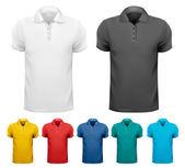 Черно-белые и цветные мужчин т рубашки. Шаблон оформления. Вектор — Cтоковый вектор