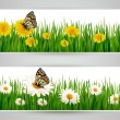 Two banners with butterflies and flowers. Vector. — Stockvectorbeeld