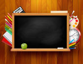 Blackboard with school supplies on wooden background. Vector ill — Stock Vector