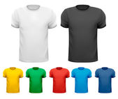 Black and white and color men t-shirts. Design template. Vector — Stock Vector