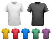 černé a bílé a barevné muži trička. šablona návrhu. vektor — Stock vektor