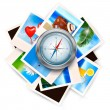 Background  with travel photos and  compass. Vector — Stock Vector