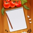 Fresh vegetables and spices on a wooden background and notebook  — Stock Vector