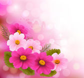 Holiday background with three pink flowers.Vector illustration — 图库矢量图片