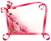 Holiday background. Colorful flowers with pink bow and ribbon. V — Stockvektor