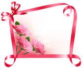 Holiday bakgrund. färgglada blommor med rosa rosett och bandet. v — Stockvektor