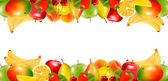Two borders made of delicious ripe fruit. Vector. — Stock Vector