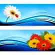Nature banners with color flowers. Vector. — Stock Vector #26637307